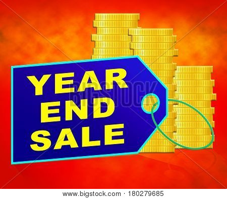 Year End Sale Representing Retail Clearance 3D Illustration