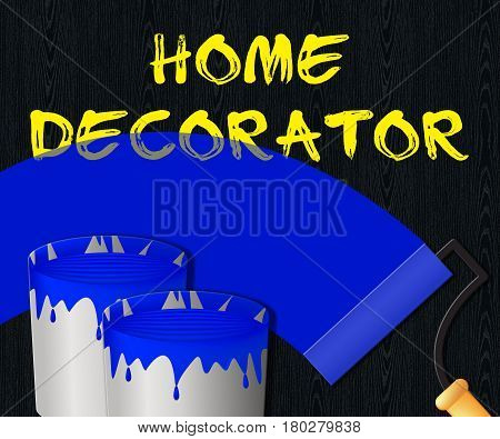 Home Decorator Displays House Painting 3D Illustration