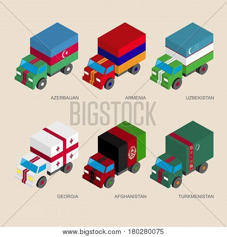 Set of isometric 3d cargo trucks with flags of Asian countries. Cars with standards -  Armenia, Georgia, Uzbekistan, Azerbaijan, Afghanistan, Turkmenistan. Transport icons for infographics.