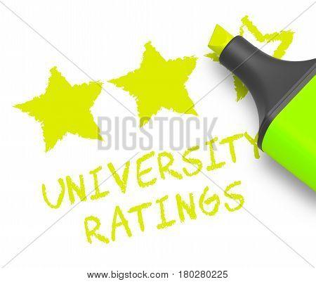 University Ratings Displays Performance Report 3D Illustration