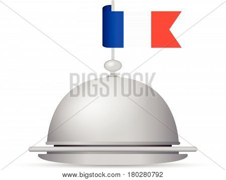 a blue and red French flag dinner platter