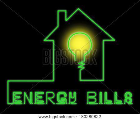 Energy Bills Shows Electric Power 3D Illustration