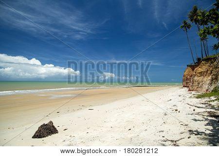 Falesias In Barra Do Cahy Beach, Bahia, Brazil. February, 2017.