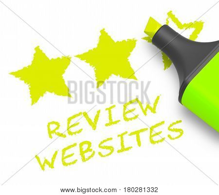 Review Websites Displays Site Performance 3D Illustration