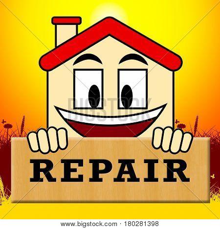 House Repair Representing Fixing House 3D Illustration