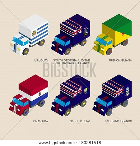 Set of isometric 3d cargo trucks with flags of South America countries. Cars with standards - Uruguay, Paraguay, South Georgia, French Guiana, Saint Helena, Falkland. Transport icons for infographics.