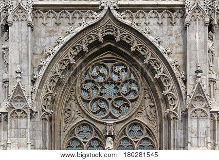 Budapest Hungary Buda Castle Matthias church door ornament.