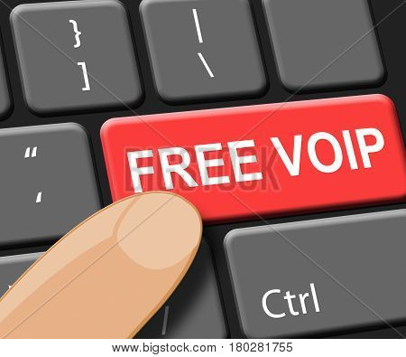 Free Voip Key Shows Internet Voice 3D Illustration