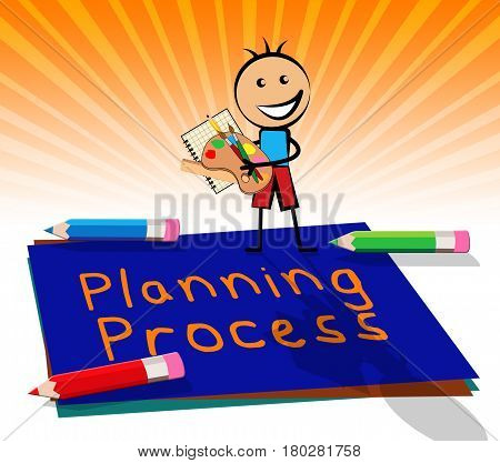 Planning Process Displays Plan Method 3D Illustration