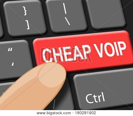Cheap Voip Key Shows Internet Voice 3D Illustration