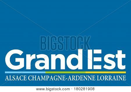 Flag of Grand Est is a French administrative region in northeastern France. Vector illustration
