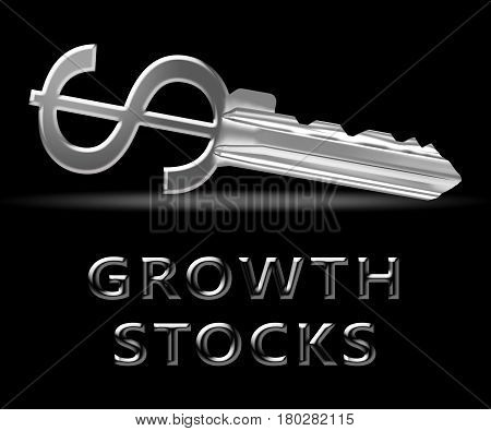 Growth Stocks Means Rising Shares 3D Illustration