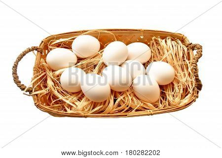 Fresh Hen Eggs in a Basket Isolated Over White