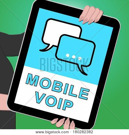 Mobile Voip Key Showing Broadband Telephony 3D Illustration