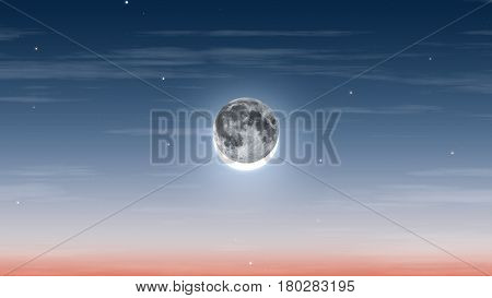 Solar Eclipse Blue Sky High Quality Realistic Background Illustration, Cloudy and Starry Dark Sky