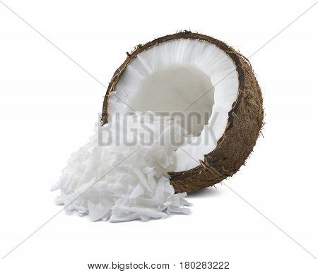 Coconut broken half shredded isolated on white background as package design element