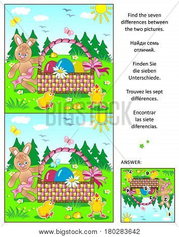 Easter themed visual puzzle: Find the seven differences between the two pictures with bunny, painted eggs, basket and chicks. Answer included.