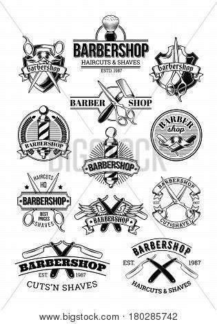 set of barbershop logos, signage, made in engraving style
