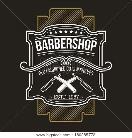 illustration of classic barbershop emblem and signage