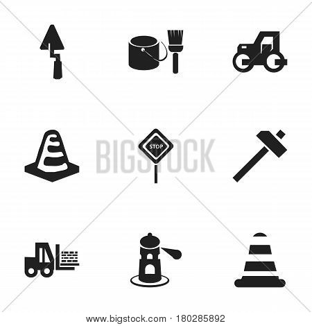 Set Of 9 Editable Construction Icons. Includes Symbols Such As Brush With Bucket, Seamark, Warning Cone And More. Can Be Used For Web, Mobile, UI And Infographic Design.