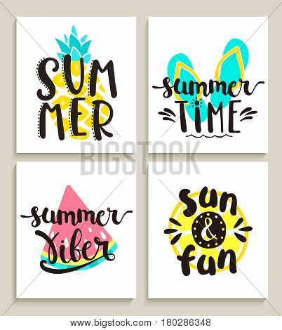 Four bright summer cards on white background with watermelon, lemon, pineapple and slippers. Fun quote design logo or label. Vector illustration. poster