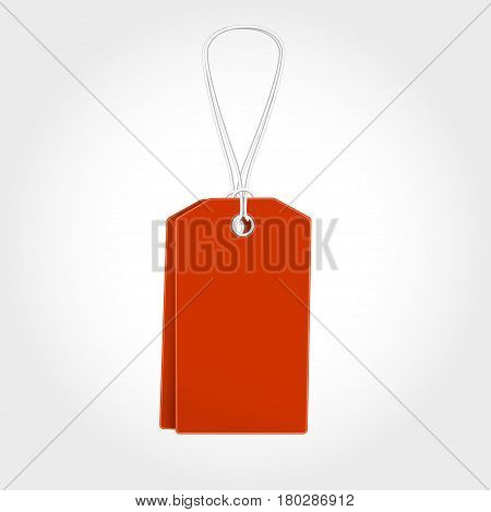 Red Tag, label with sale for seasons design. Vector illustration tamplate