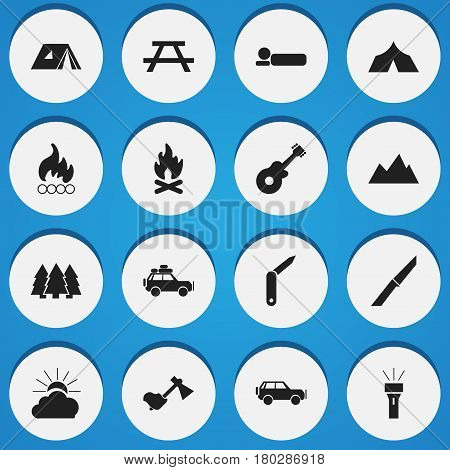 Set Of 16 Editable Trip Icons. Includes Symbols Such As Desk, Pine, Knife And More. Can Be Used For Web, Mobile, UI And Infographic Design.
