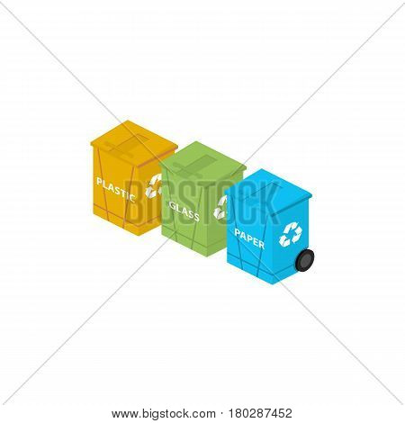 Icon isometric waste container. Waste sorting. Vector illustration