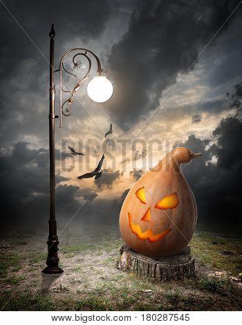 Halloween pumpkin on the stump and streetlamp