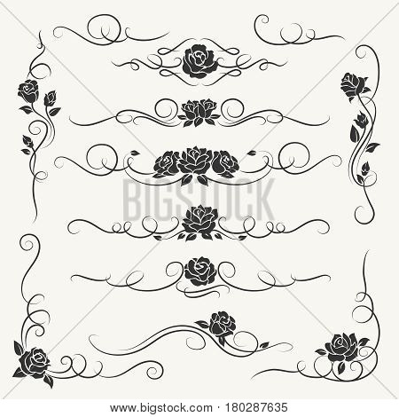 Flourish roses ornament vector illustration. Ornamental rose flowers and vines decorative ornaments for floral wedding decor isolated on white