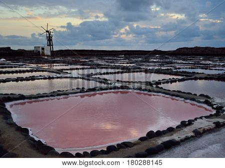 Ponds of color at dawn, salines of Tenefe, coast of Gran canaria, Canary islands