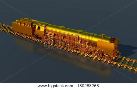 Computer generated 3D illustration with a golden steam locomotive
