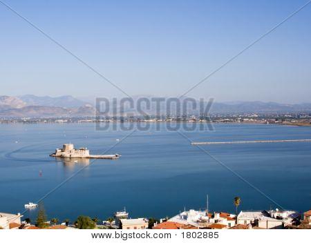 View On Bourtzi Castle In Nafplion Greece