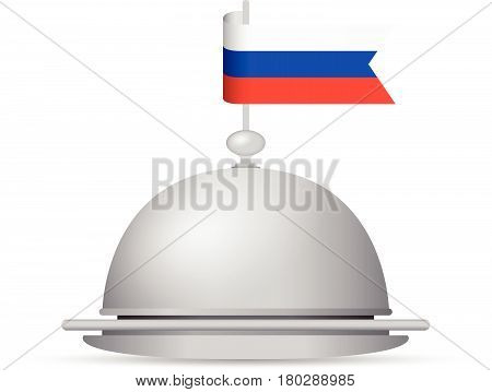 a red white and blue russian flag dinner platter