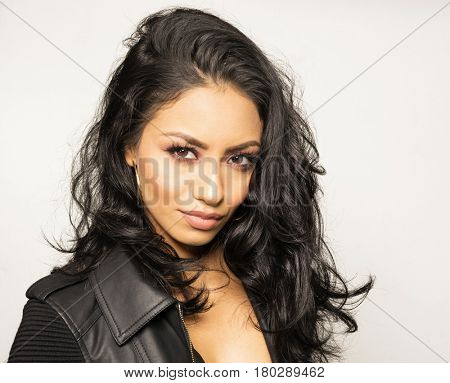 Beautiful woman with gorgeous dark hair