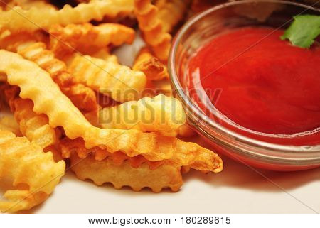 Side Dish French Fries Served with Catsup