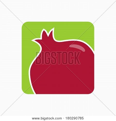 Pomegranate Icon Simple Flat Vector Illustration. Fresh Pomegranate Sign