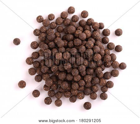 Top view of herbal pills isolated white