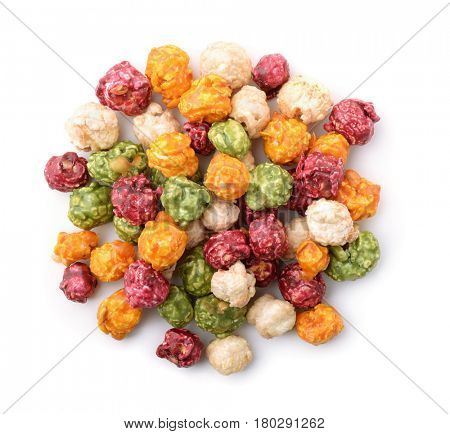 Top view of colorful popcorn isolated on white
