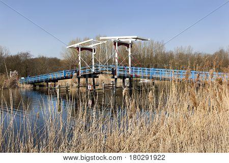 Old drawbridge over river Rotte in the Netherlands