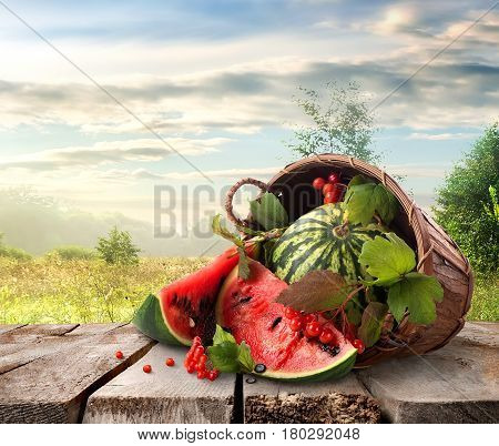 Watermelon in a basket and beutiful landscape