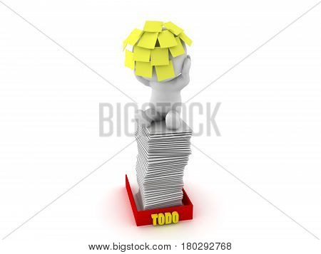 3D Character sitting on top of full inbox with sticky notes stuck to his head. This image symbolizes the fact that people are overworked at the office.