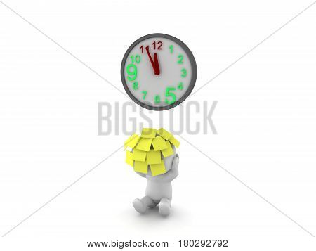 3D Character with lots of sticky notes on him with clock reaching deadline. This image depics the fact that with having a deadline getting closer and closer a person will become more and more stressed.