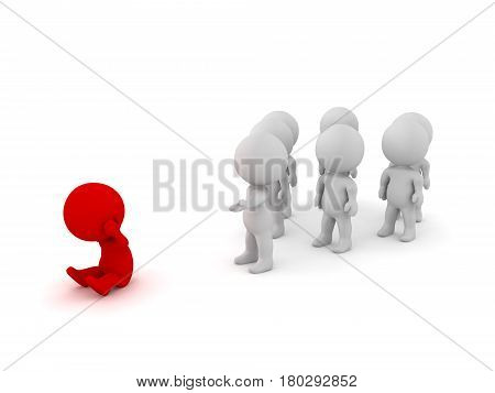 3D illustration of a group offering support to an isoloated person. One person of the group is extending his arm out and the isolated person is highlighted in red.