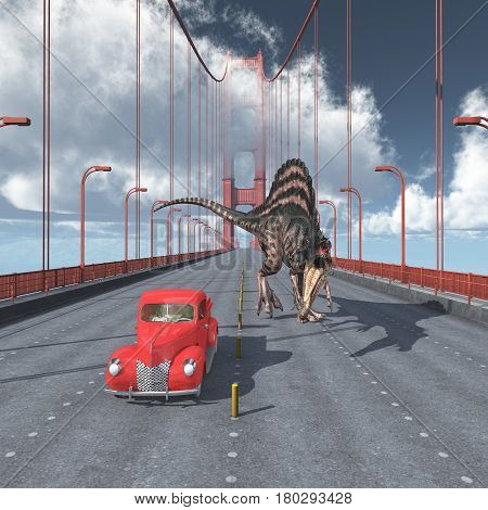 Computer generated 3D illustration with a dinosaur on the Golden Gate Bridge in San Francisco