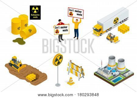 Isometric set of Radioactive waste elements. People protest, barrels, transportation, power station or reactors, tractor digs in drums with radioactive waste. Flat 3d vector isometric illustration
