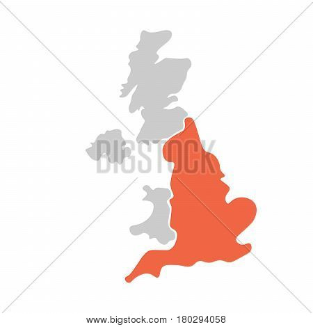 Simplified hand-drawn blank map of United Kingdom of Great Britain and Northern Ireland, UK. Divided to four countries with England red highlighted. Simple flat vector illustration.