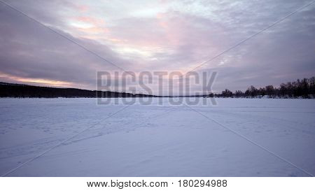 Winter lanscape of a snow field in Finland