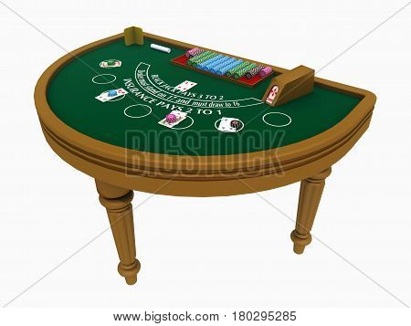 Computer generated 3D illustration with a blackjack table isolated on white background