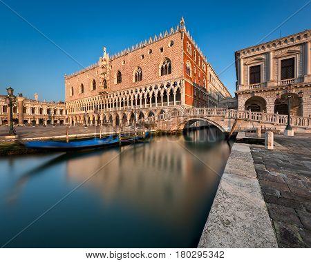 Doge Palace Illuminated by Rising Sun at Sunrise Venice Italy